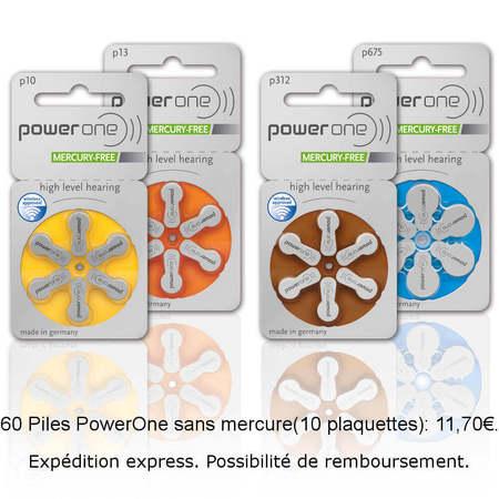 60 piles Powerone Sans Mercure 10-312-13-675