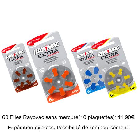 60 piles Rayovac Sans Mercure 10-312-13-675