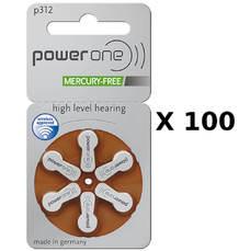 100 plaquettes de piles auditives Powerone 312 sans mercure