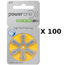 100 plaquettes de piles auditives Powerone 10 sans mercure