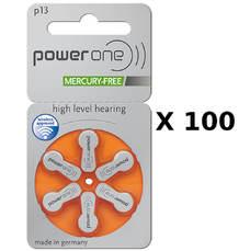 100 plaquettes de piles auditives Powerone 13 sans mercure