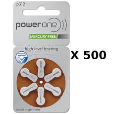 500 plaquettes de piles auditives Powerone 312 sans mercure