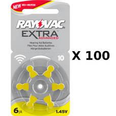 100 plaquettes de piles auditives Rayovac 10 sans mercure