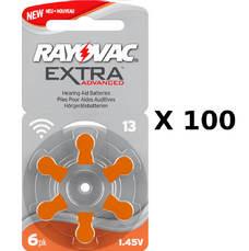 100 plaquettes de piles auditives Rayovac 13 sans mercure