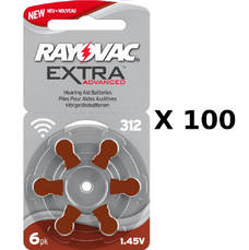 100 plaquettes de piles auditives Rayovac 312 sans mercure