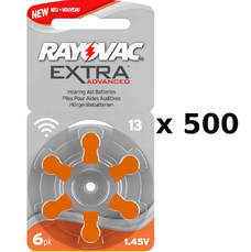 500 plaquettes de piles auditives Rayovac 13 sans mercure
