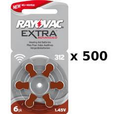 500 plaquettes de piles auditives Rayovac 312 sans mercure