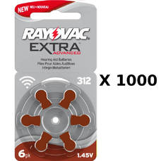 1000 plaquettes de piles auditives Rayovac 312 sans mercure