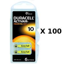 100 plaquettes de piles auditives Duracell 10 sans mercure
