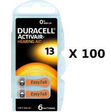 100 plaquettes de piles auditives Duracell 13 sans mercure