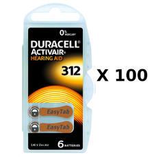 100 plaquettes de piles auditives Duracell 312 sans mercure