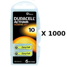 1000 plaquettes de piles auditives Duracell 10 sans mercure