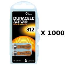 1000 plaquettes de piles auditives Duracell 312 sans mercure